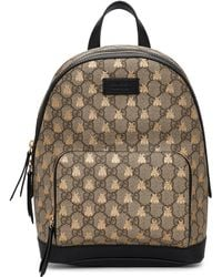 Gucci Beige GG Supreme Bestiary Backpack - Brown