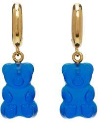 Balenciaga Boucles d'oreilles Gummy Bear dorées et bleues