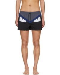 Fendi - Black Bag Bugs Swim Shorts - Lyst