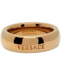 Versace Gold Engraved Logo Ring - Metallic