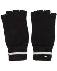 Saint Laurent Black Wool Stripe Fingerless Gloves