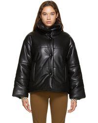 Nanushka Black Faux-leather Puffer Jacket