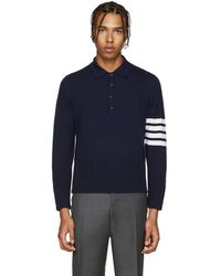 Thom Browne - Navy Cashmere Polo - Lyst