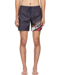 Fendi Navy Mania Tech Swim Shorts