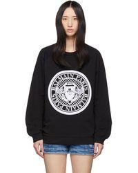 Balmain - Black Flocked Coin Sweatshirt - Lyst