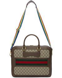 Gucci - Beige Gg Supreme ' Echo' Briefcase - Lyst