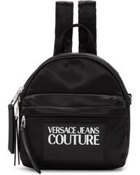 Versace Jeans Couture ブラック ナイロン ロゴ バックパック
