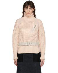Sacai Col roulé à ceinture en laine rose