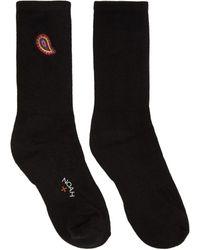Noah Black Paisley Logo Socks