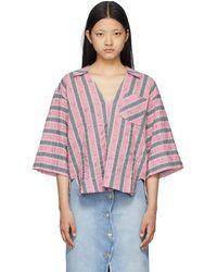 Ganni ピンク & グレー オーバーサイズ ショート スリーブ シャツ
