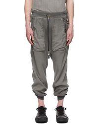 Boris Bidjan Saberi Pantalon de survêtement teint en résine gris Long John