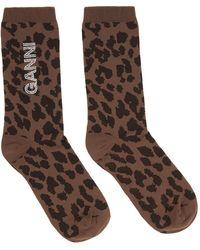 Ganni Brown Rhinestone Logo Socks
