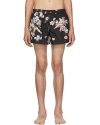 Dolce & Gabbana - Black Floral Swim Shorts - Lyst