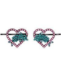 Ashley Williams ピンク & ブルー Heart & Dolphin ヘア クリップ - マルチカラー