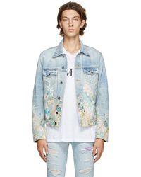 Amiri ブルー デニム Floral Leaf トラッカー ジャケット