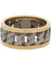Alexander McQueen Gold & Gunmetal Bi-color Chain Ring - Metallic