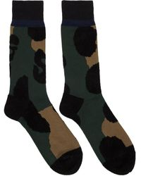 Sacai Green And Black Leopard Socks
