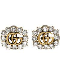 Gucci Boucles d'oreilles dorées Crystal GG Marmont - Métallisé