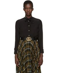 Gucci - Black Silk Flounce Shirt - Lyst
