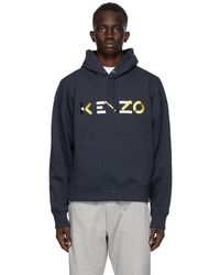 KENZO - ネイビー エンブロイダリー ロゴ フーディ - Lyst