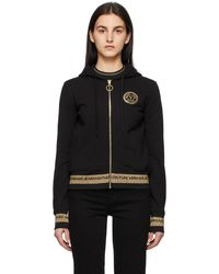 Versace Jeans Couture ブラック V Emblem フーディ