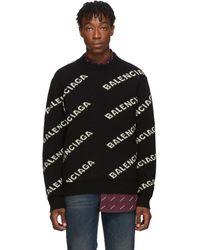 Balenciaga - ブラック And ホワイト オールオーバー ロゴ セーター - Lyst