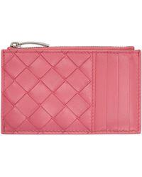 Bottega Veneta - Porte-cartes à glissière rose Intrecciato - Lyst
