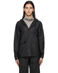 Rains ブラック ショート フード ジャケット