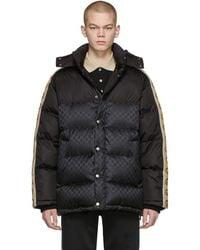Gucci - Manteau en duvet noir GG Jacquard - Lyst