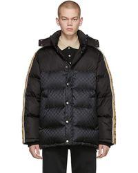 Gucci Black Down GG Jacquard Coat