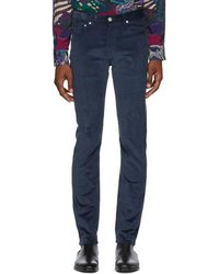 PS by Paul Smith - Blue Corduroy Slim Trousers - Lyst