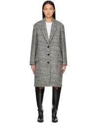 Isabel Marant ブラック & ホワイト オーバーサイズ Fegozi コート - マルチカラー