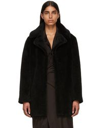 Meteo by Yves Salomon - Black Curly Sheep Coat - Lyst