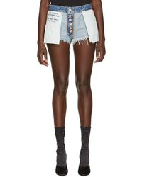 Unravel - Indigo Reverse Rigid Denim Shorts - Lyst