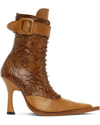 CHARLOTTE KNOWLES Tan Serpent Lace-up Heeled Boots - Brown