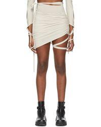 Hyein Seo Ssense Exclusive Grey Lotus Shirring Skirt - Natural