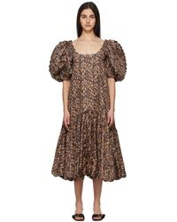 Kika Vargas ブラック Maya ドレス - ブラウン