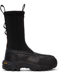 Heron Preston ブラック Security Sock レザー ブーツ