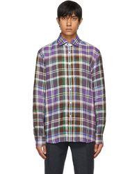 Ralph Lauren Purple Label - Purple Linen Plaid Shirt - Lyst
