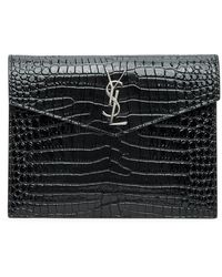 Saint Laurent Uptown Large Leather Envelope Pouch - Black