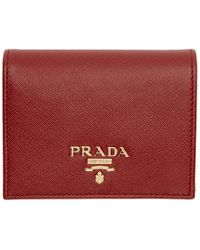 Prada - Red Saffiano French Wallet - Lyst