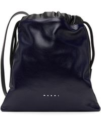 Marni Navy & Black Museo Soft Drawstring Bag - Multicolour