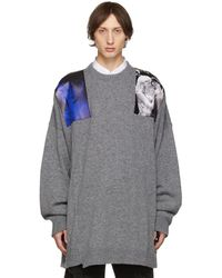 Raf Simons Grey Oversized Patches Sweater - Gray