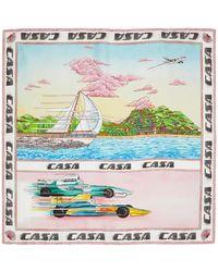 CASABLANCA マルチカラー シルク Racing On The Sea スカーフ