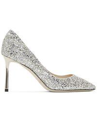 Jimmy Choo Silver Glitter Romy 85 Heels - Metallic