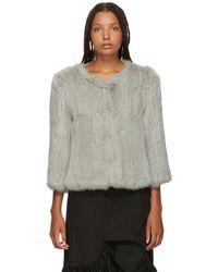 Yves Salomon - Grey Knitted Rabbit Jacket - Lyst