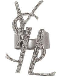 Saint Laurent - Silver Deconstructed Monogram Opyum Ring - Lyst