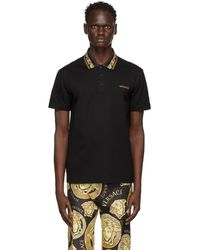 Versace Black Studded Barocco Polo