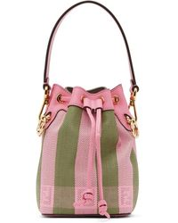 Fendi Pink And Green Raffia Mini Mon Tresor Bag