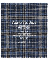 Acne Studios Blue And Beige Checked Logo Scarf